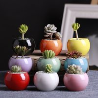 Wholesale small ceramic flower pots wholesale - Ceramic Pots Succulents Flower Pot Small Ball Round White Porcelain White Color Mini Creative Free DHL 218