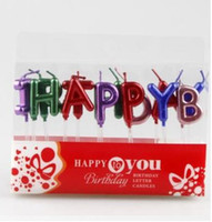 usa velas al por mayor-50 Sets Decoración de pastel de cumpleaños de estilo europeo Home Party Use Gold / Silver / multicolor HAPPY BIRTHDAY Candle Cake Candles