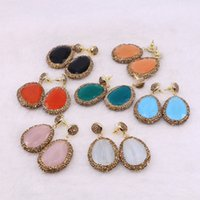 Wholesale gold blue gem earring - 5 Pairs Mix Color Faceted Natural Stone Dangle Earrings Pave Gold Rhinestone Drop Earrings Wholesale Gems Jewelry for Women