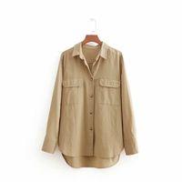 ingrosso le camicette delle signore-2018 donne vintage manica lunga doppia tasca decorazione camicette di lino signore casual business shirt femininas blusas top LS2495