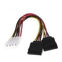 ingrosso sata adattatore pin-All'ingrosso F04227 IDE Molex a 2 Serial ATA SATA Y Splitter 4 Pin Hard Drive Power Adapter Cavo