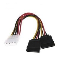 ide ata sürücü toptan satış-Toptan Satış - F04227 IDE Molex 2 Seri ATA SATA Y Splitter 4 Pin Sabit Disk Güç Adaptörü Kablosu Kablosu
