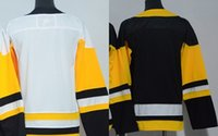 ingrosso porcellana autentica pullover hockey-Factory Outlet, Custom Throwback Jerseys Authentic nero / blu / bianco personalizzato Cheap China Hockey Maglie NO. Nome / s