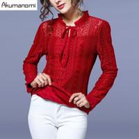 ruffle yaka bluz artı boyutu toptan satış-Kış Dantel Bluz Kalınlaşmak Yay Ruffled Yaka Siyah Yeşil Kırmızı Ruffles Manşet kadın Giysileri Sonbahar Bahar Tops Gömlek Artı Boyutu