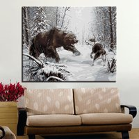Wholesale painting acrylic sheets for sale - Black Bear And Wolf Of War Oil Painting By Numbers DIY Pictures On Canvas Acrylic Drawing Coloring Wall Art Home Artwork Gifts