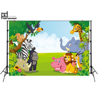 Wholesale photography wall backdrops online - HUAYI Fun Jungle animals Photography backdrops Photo background Baby birthday banner Dessert table decoration wall XT