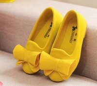 Wholesale baby big bow shoes for sale - Group buy hot Children Shoes Big Bow Flock Candy Colors Girls Shoes Princess Flat Shoes Slip On Girls Sandals Single Baby