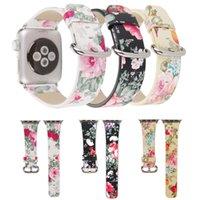 deri izle bant çiçek toptan satış-Moda Güzellik kadın Apple için Çiçek Deri Bileklik İzle 40 / 44mm 38 / 42mm Askı Çiçek Bilezik ile iWatch Adaptörler ile 3 3 Band