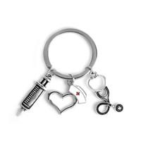 семейный мультфильм мода оптовых-HANCHANG Fashion Key chain Cylinder Stethoscope Keychain Mini Cartoon Syringe Heart Keychain Family Health Doctor Nurse Memorial