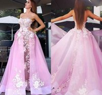 Wholesale pictures pink hearts - 2018 Pink Ball Gown Prom Dresses With Overskirts Sweet Heart Sweep Train Illusion Bodice Appliques Organza Long Evening Red Carpet Gowns