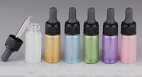 Wholesale mini green glass bottles - 5ml glass dropper bottle white gold blue pink purple green 6 color mini sample glass pearl bottle for essential oil eliuqid e juice