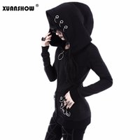 Wholesale Ring Jackets - XUANSHOW Women Hoodies Punk Style Iron Ring Sweatshirts Spring Autumn Winter Long Sleeve Zip-up Black Jacket Zipper Ladies Coat