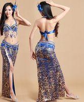 conjuntos de roupas de contas venda por atacado-3 pcs Set Bling Bling Luxo Feitos À Mão Frisado Traje de Dança Do Ventre Bollywood Roupas Árabe Princesa Vestido Eygptian Frete Grátis