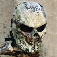 militär paintball maske groihandel-9 Art-Tarnung Masken Geist Tactical Outdoor-Militär CS GO Wargame Paintball Motorrad-Schädel-volle Gesichts-Halloween-Maske Adlut