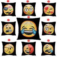 Wholesale Face Pillows - Sequins Pillow Case Emoji Mermaid Cushion Gradient color Change Face Double Color Pillow Cover Soft Car Sofa Ornament Bright Covers 3002058