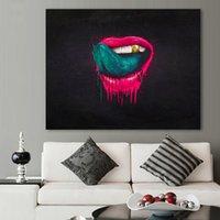 kırmızı oda sanatı toptan satış-Oturma Odası Için 1 Adet Duvar Sanatı Resimleri Kırmızı Dudaklar Boyama Tuval Yağlıboya Hiçbir Çerçeve Modern Pop Art Ev Dekor