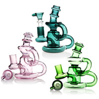 Wholesale Nail Designs Art - New Design Glass Water Pipe Recycler Art Mini Bong Accessories 14mm Piece Smoking Pipes With 14.5mm Parts Oil Rigs Nail Bongs Perc Dab Green
