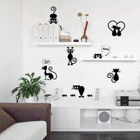 ingrosso interruttore a parete nero-Adesivi murali moda nera Adesivi gatto Adesivi per soggiorno Decorazioni per pareti TV Decorazioni per bambini Camerette per bambini L40