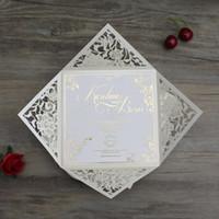 elfenbein einladungspapier großhandel-100 Stück Laser Cut Hochzeitseinladungskarten mit Umschlag schwarz Navy Blue Ivory Papier Hochzeit Einladungskarte + Custom bedruckbar