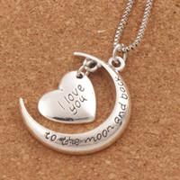 collar de luna de moda al por mayor-Te amo a la luna y la espalda collar corchete de langosta collares pendientes 24