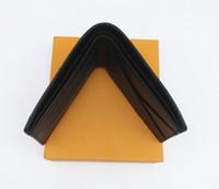 carteira dos homens da caixa venda por atacado-Paris xadrez estilo Designer mens carteira homens famosos carteiras de luxo lona especial múltipla curta pequena carteira bifold com caixa