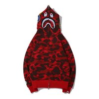 ingrosso giacche rosse con cappuccio-I più nuovi Lover Camo Shark Print Cotton Sweater Hoodies Casual da uomo Purple Red Camo Cardigan Hooded Jacket Taglie M-2XL