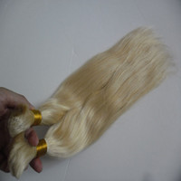 Wholesale blond braided hair resale online - Straight European Hair Bulk Blond Bulk Natural Raw Hair g human braiding hair bulk