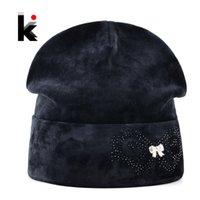 Wholesale Velvet Hats Ladies - Winter Beanies Bonnet Hat For Women Rhinestone Butterfly Velvet Caps Ladies Skies Thick Fluff Skullies Hats Femal Touca inverno