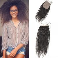 hızlı nakliye boyası toptan satış-Ipek Taban Kapatma 4x4 Afro Kinky Kıvırcık% 100% Bakire İnsan Saç Doğal Renk Boyalı Hızlı Kargo G-EASY