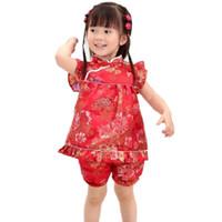 falda qipao al por mayor-2018 bebé QIPAO vestidos niños faldas tapicería satén Recién nacido establece brocado de seda bebé trajes trajes faldas pantalones