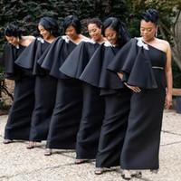 Wholesale latest wedding dresses bridesmaid resale online - Latest Black African Arabic Bridesmaids Dresses One Shoulder Appliques Beaded Sash Long Wedding Guest Gowns Plus Size