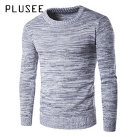 Wholesale Plain Pullover Sweater - Plusee 2017 New Men Sweater Pullover Autumn Thermal Gray Plain Spring Stripe Knitting Sweater O-neck Warm Knitwear Men