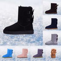 botas de piel azul al por mayor-Original mujer invierno botas castaño negro gris rosa diseñador para mujer botas de nieve tobillo rodilla bota tamaño 5-10 envío rápido