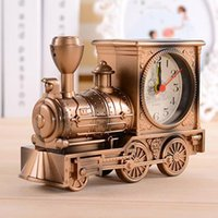 Wholesale metal alarm - Vintage Retro Train Desk Clock Home Decor 3 Colors Creative fashion Quartz Clocks Best Promotion Gift with Boxes