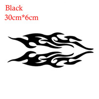 Wholesale Red Murals - 2pcs Universal Car Sticker Styling Engine Hood Motorcycle Decal Decor Mural Vinyl Covers Auto Flame Fire Sticker Car-styling