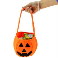Wholesale pumpkin gift bags resale online - Halloween Pumpkin Bags Hallowmas Sacks Gift Bags Drawstring Candy Bag Tricks Or Halloween Party Favor
