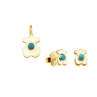 Wholesale emerald wedding earrings - 2018 New Original Design Stainless steel Turquoise Cute small Bear Ornament Women Fashion Jewelry set of Stud earrings and Necklace 18k gold