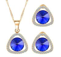 Wholesale austrian swarovski crystal jewelry for sale - Group buy Bridesmaid Pretty Set K Gold High Quality Austrian Crystal Full of Diamond Drop Pendant Necklace Earring Set Swarovski Party Jewelry Set