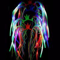 işıklı yılbaşı şeritleri toptan satış-Led Şehriye Bandı Flaş Parti Rave Kostüm Fantezi Elbise Bling Light Up Örgüler Taç Hairband Headbands Noel Şenlikli WX9-941 Şekeri