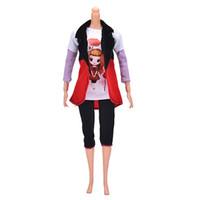 Wholesale Ken Costume - 3 Pcs Set Fashion Outfit Vest Trousers Coat Clothes For Ken Handmade National Costume Dolls Accessories