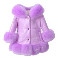 Wholesale grey fox fur coats - Kids girl's PU leather patchwork fox faux fur collar jacket coat down parkas thicken coat princess winter outerwear fur coat