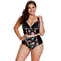 üçgen sutyen l toptan satış-Artı Boyutu M-3XL Kadınlar Çiçek Tankinis Üçgen Fincan Sutyen Yastıklı V Yaka Mayo Plaj Kıyafeti Seksi Giysiler Için