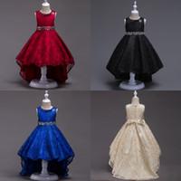 siyah gelinlik gölgelikleri toptan satış-Zarif Prenses Kraliyet Mavi Siyah Tren Kolsuz Kanat Boncuklu Çiçek Kız Elbise Düğün Parti Resmi Elbise Çöp Kız Pageant Elbise F709