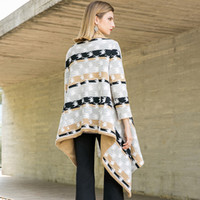 amerikanische winterkappen groihandel-Mantel, weibliche europäische und amerikanische 2018 neue Herbst Winter Strickjacke, lange Mode gedruckt Mantel, Schal Kap.