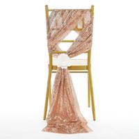 fundas para sillas fajas de oro al por mayor-Fajas de lujo en oro rosa con lentejuelas y bandejas de boda por encargo decoración deslumbrante silla arcos silla cubre tamaño 50 * 200 cm