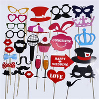 Wholesale mustache props - Birthday Party Favors Photo Booth Props Funny DIY Mustache Lips Photographic Prop Wedding Decorations Hot Sale 5 5gp C R