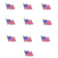 Wholesale Usa Ties - Wholesale- 10PCS American Flag Lapel Pin United States USA Hat Tie Tack Badge Pin