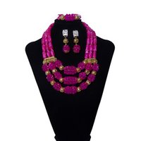 Wholesale beaded purple jewelry set for sale - Group buy Fashion Purple Beaded Crystal Ball Women Jewelry Set Wedding Jewelry African Bridal Beads Jewelry Set Necklace Earring Bracelet Free Shipp