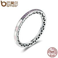 Wholesale Romance Jewelry - BAMOER New Arrival 925 Sterling Silver Puzzle Romance Radiant Heart Finger Rings for Women Wedding Engagement Jewelry SCR110