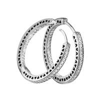 pendientes de plata de ley 925 con corazones al por mayor-Compatible con los pendientes de Pandora 925 Pendientes de plata esterlina Corazones para las mujeres Joyería de estilo europeo Encanto de moda original